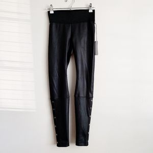 Koral Black Faux Leather Workout Leggings